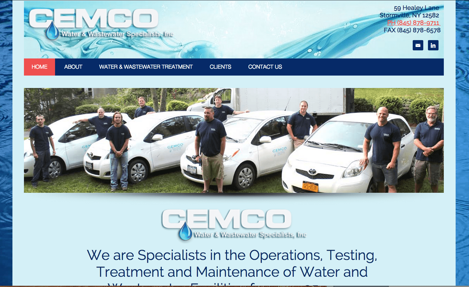Cemco Water and Wastewater Specialists Website