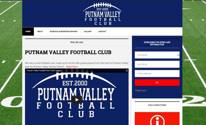 Website Design for Putnam Valley Football Club