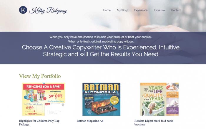 Kathy Ridgway Copywriter website