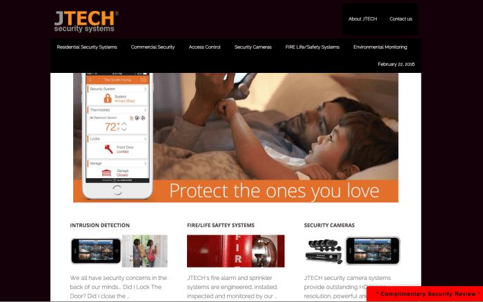 JTech Security Systems website design