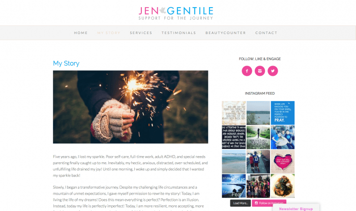 Website Design - Jen Gentile Support for the Journey