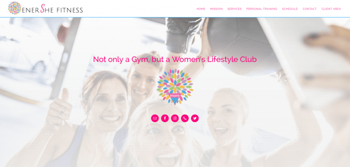 enerShe fitness website design