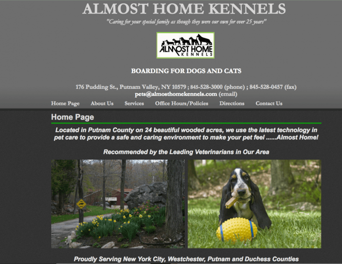 Almost Home Website design before