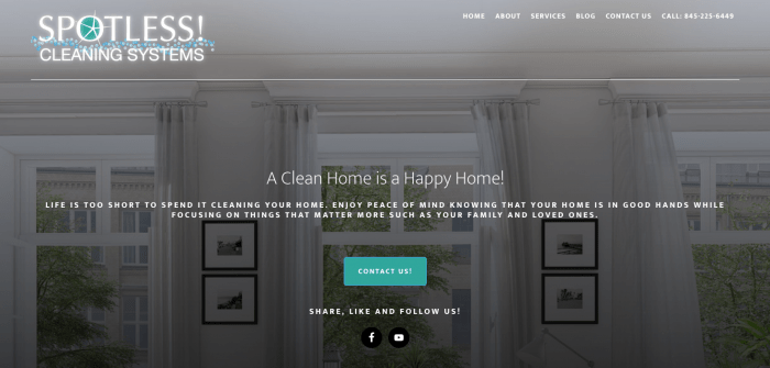 Lake Mahopac Graphic Design Website for Spotless Cleaning Systems